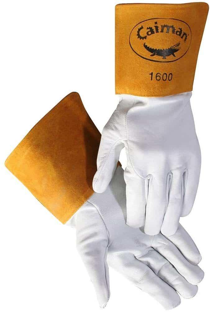 Caiman White Goatskin Long Cuff Welding Gloves