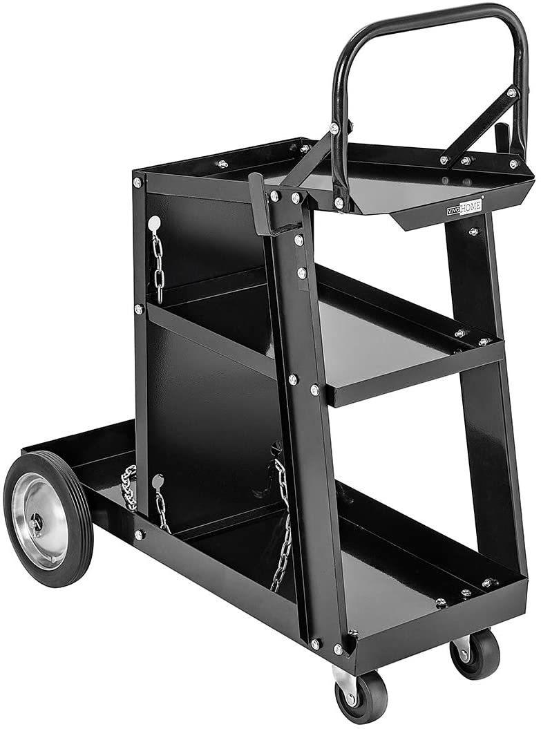 VIVOHOME Iron 3 Tiers Rolling Welding Cart