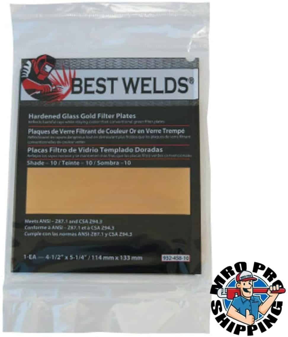 Best Welds Hardened Glass Gold Filter Plate Shade 10